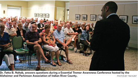 Dr. Fatta B. Nahab, answers questions during a Essential Tremor Awareness Conference hosted by the Alzheimer and Parkinson Association of Indian River County.