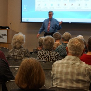 Shown is Peter Muller beginning the joint Essential Tremor support group meeting at Holy Cross Hospital on June 6, 2015.